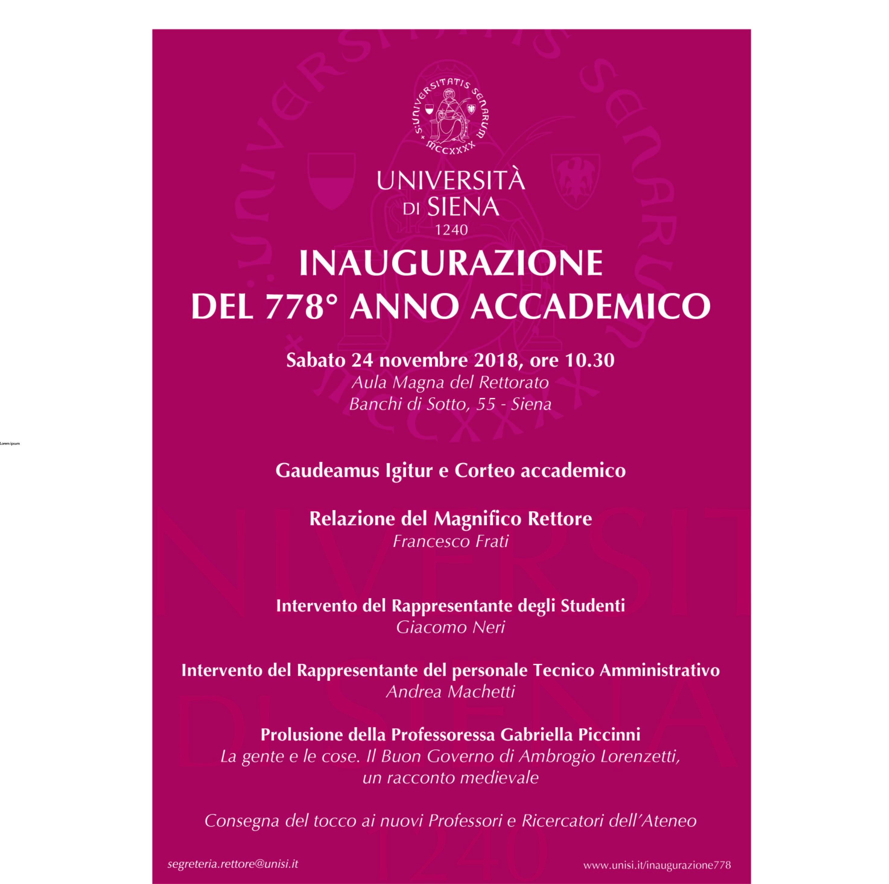Unito Calendario Accademico.Inaugurazione Del 778 Anno Accademico Universita Degli