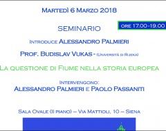 """Seminario """"La questione di Fiume nella storia europea"""""""