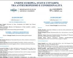 """Workshop """"Unione europea, stati e cittadini. Tra antieuropeismo e condizionalità"""""""