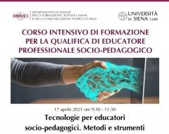 """Webinar """"Tecnologie per educatori socio-pedagogici. Metodi e strumenti""""Webinar """"Tecnologie per educatori socio-pedagogici. Metodi e strumenti"""""""