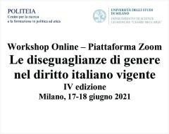 Le diseguaglianze di genere nel diritto italiano vigente. Workshop online