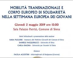 """Incontro """"Mobilità transnazionale e corpo europeo di solidarietà"""""""