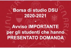 Borsa DSU: avviso importante per gli studenti che hanno presentato domanda