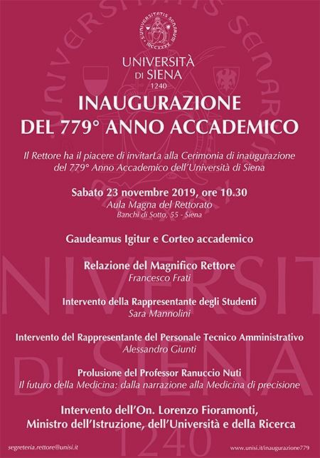 Invito Inaugurazione 779° anno accademico