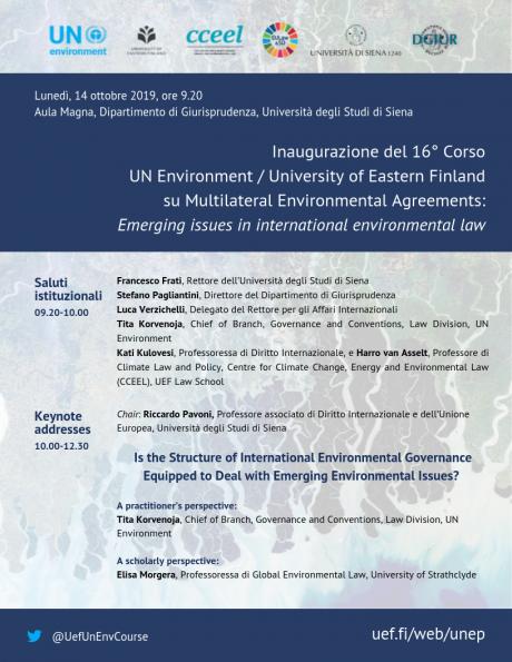 Inaugurazione 16° Corso ONU su Accordi Multilaterali Ambientali