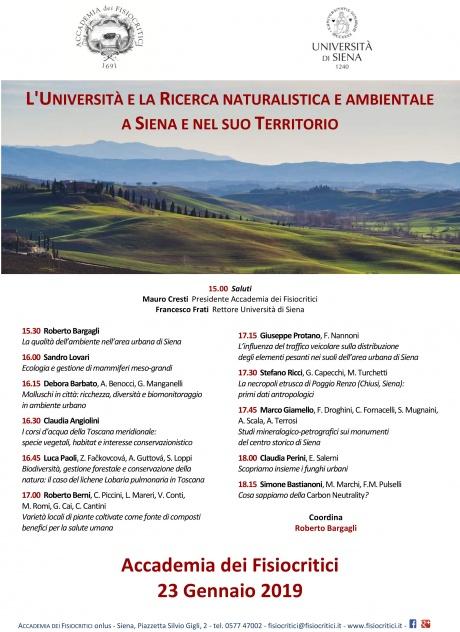 L'università e la ricerca naturalistica