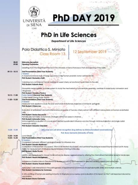 Dottorato di ricerca in Scienze della Vita 2019