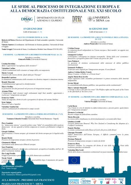 Convegno Le sfide al processo di integrazione europea e alla democrazia costituzionale nel XXI secolo