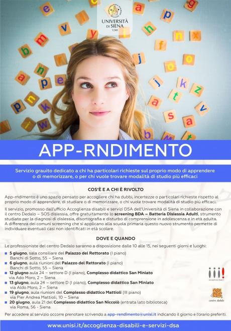 """Attivazione dello spazio """"App-rndimento"""" in Ateneo"""