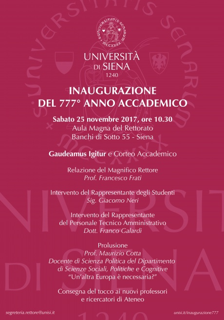 Inaugurazione del 777° anno accademico