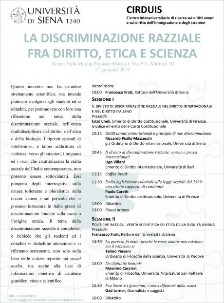 """Convegno """"La discriminazione razziale fra diritto, etica e scienza"""""""