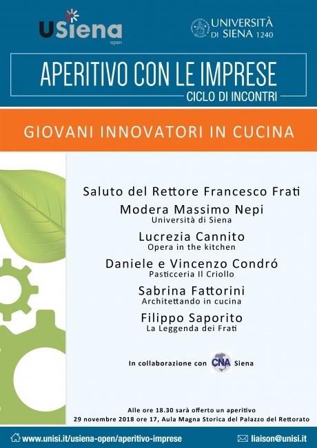 """immagine locandina Aperitivo con le imprese: """"Giovani innovatori in cucina"""""""