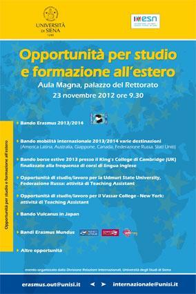 Locandina Opportunità per studio e formazione all'estero