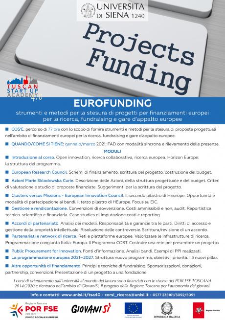 eurofunding II edizione - strumenti e metodi per la stesura di progetti per finanziamenti europei per la ricerca, fundraising e gare d'appalto europee - edizione 2020/2021