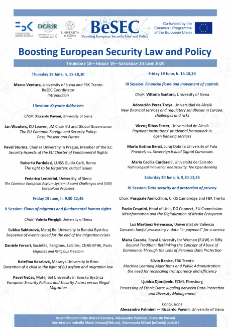 "Convegno ""Boosting European Security Law and Policy"""