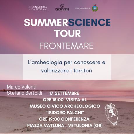 """Summer Science Tour: """"Fronte mare. L'archeologia per conoscere e valorizzare i territori"""""""