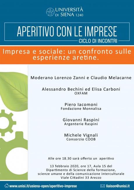 """Arezzo: ciclo di incontri Aperitivo con le imprese - """"Impresa e sociale"""""""