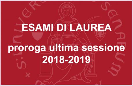 Proroga dell'ultimo appello della sessione di laurea dell'a.a. 2018/2019