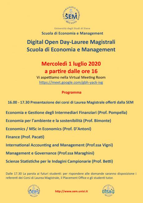 Digital Open Day-Lauree magistrali Scuola di Economia e Management