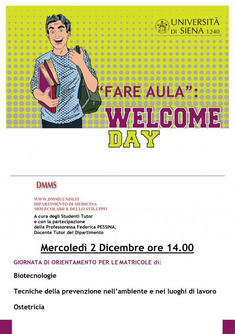 Welcome Day dipartimento Medicina molecolare e dello sviluppo
