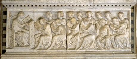 Immagine rilievo del 1325 circa con il Giurista Guglielmo da Ciliano mentre tiene una lezione