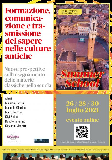 """Summer School """"Formazione, comunicazione e trasmissione del sapere nelle culture antiche"""""""