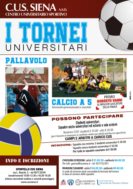 tornei universitari di calcio a 5 e volley del Cus Siena