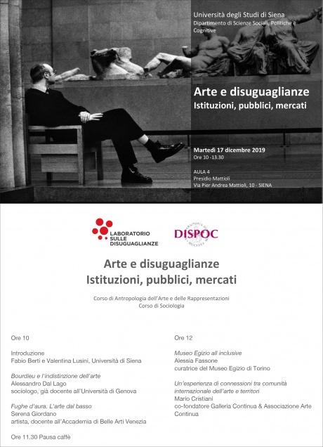 """Convegno """"Arte e disuguaglianze. Istituzioni, pubblici, mercati"""""""