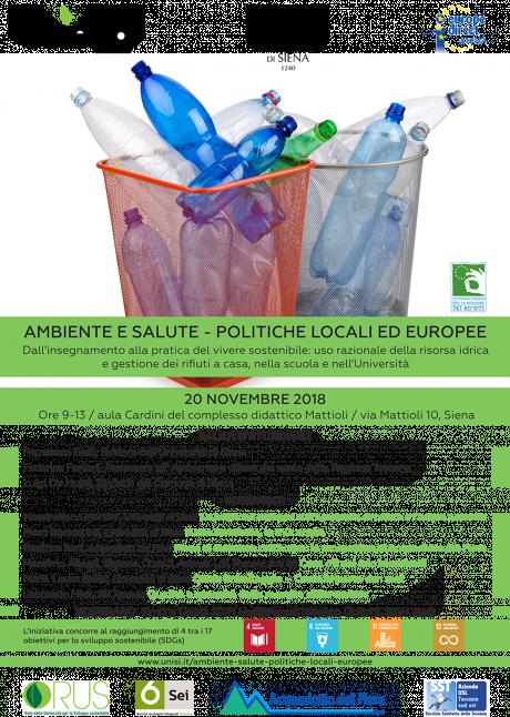 Locandina convegno Ambiente e salute - Politiche locali ed europee