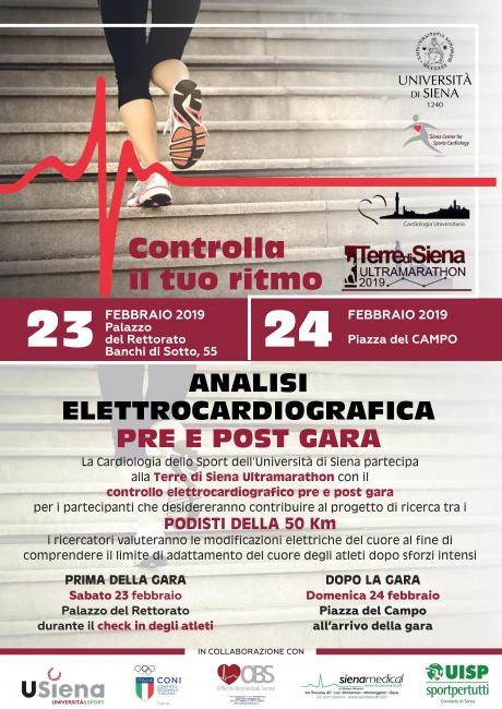 controllo elettrocardiografico pre e post gara Ultramarathon