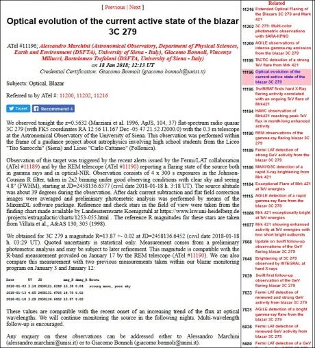 telegramma Osservatorio astronomico